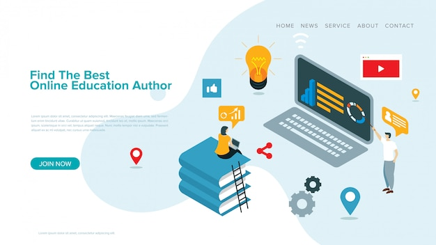 Moderne vectorillustratie voor e-learning en online onderwijs bestemmingspagina sjabloon en webpagina ontwerp.