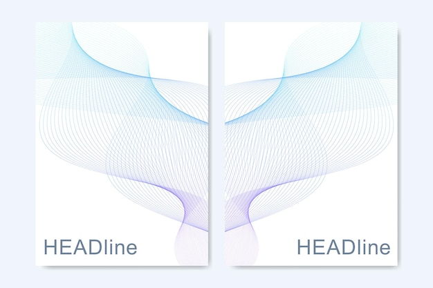 Moderne vectorsjablonen voor brochure, omslag, banner, flyer, jaarverslag, folder. abstracte kunstcompositie met verbindingslijnen en punten. golfstroom. digitale technologie, wetenschap of medisch concept