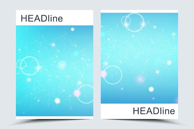 Moderne vectorsjablonen voor brochure, omslag, banner, flyer, jaarverslag, folder. abstracte kunstcompositie met verbindingslijnen en punten. golven stromen. digitale technologie, wetenschap of medisch concept.
