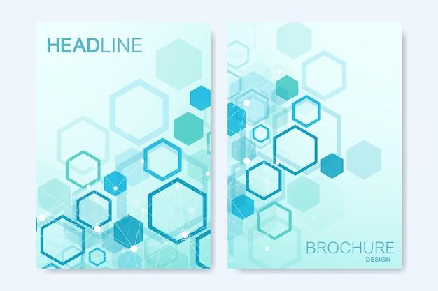 Moderne vectorsjablonen voor brochure, omslag, banner, flyer, jaarverslag, folder. abstracte kunstcompositie met zeshoeken, verbindingslijnen en punten. digitale technologie of medisch concept.