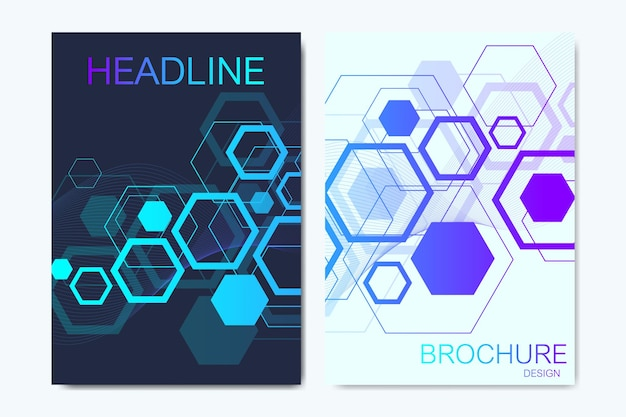 Moderne vectorsjablonen voor brochure, omslag, banner, flyer, jaarverslag, folder. zeshoekige moleculaire structuren. futuristische technische achtergrond in wetenschappelijke stijl. grafische hexadecimale achtergrond