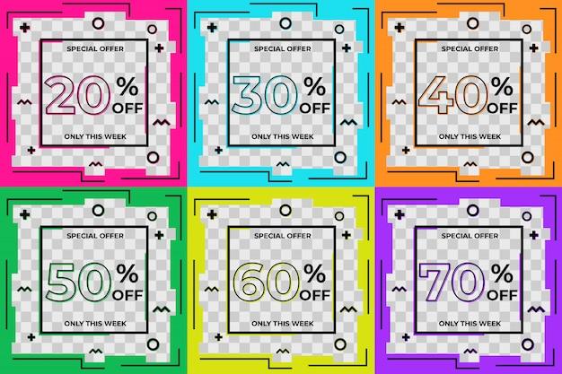 Moderne verkoop korting promotie vierkante banner ingesteld voor instagram