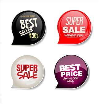 Moderne verkoop stickers collectie