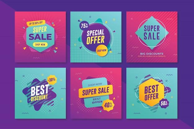 Moderne verkoopbanner met vierkant formaat voor instagram