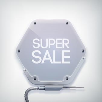 Moderne verkoopbanner met woorden superverkoop op de metalen zeshoekige plaat