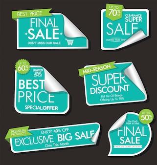 Moderne verkoopbanners en etiketten moderne inzameling