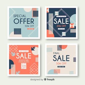 Moderne verkoopbanners voor sociale media