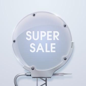 Moderne verkoopposter met woorden grote verkoop op het metalen zeshoekige reclamebord en één houder dageraad op de grijze achtergrond