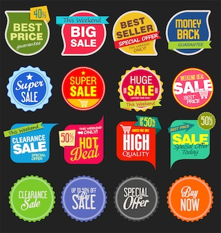 Moderne verkoopstickers en markeringen kleurrijke inzameling