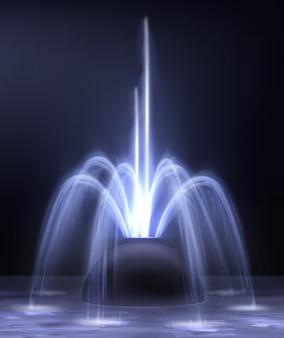 Moderne verlichte nachtfontein verlichte blauwe kleur op donkere realistische illustratie als achtergrond