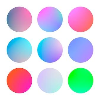 Moderne verloopset met ronde abstracte achtergronden. kleurrijke vloeistofhoes voor poster, spandoek, flyer en presentatie. trendy zachte kleur. sjabloon met moderne verloopset voor schermen en mobiele app