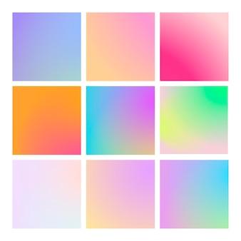 Moderne verloopset met vierkante abstracte achtergronden. kleurrijke vloeibare covers voor kalender, brochure, uitnodiging, kaarten. trendy zachte kleur. sjabloon met moderne verloopset voor schermen en mobiele app