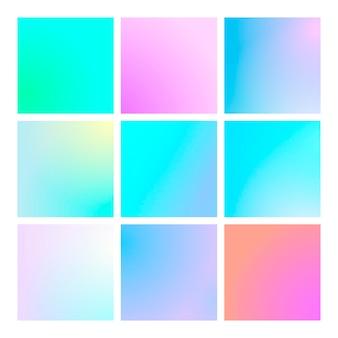 Moderne verloopset met vierkante abstracte achtergronden. kleurrijke vloeistofhoes voor poster, spandoek, flyer en presentatie. trendy zachte kleur. sjabloon met moderne verloopset voor schermen en mobiele app