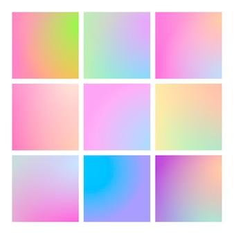 Moderne verloopset met vierkante abstracte achtergronden. Premium Vector