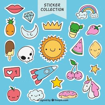 Moderne verscheidenheid aan grappige stickers