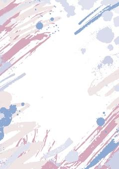 Moderne verticale achtergrond versierd met roze en blauwe pastel verfsporen, vlekken en penseelstreken op wit.