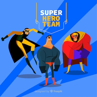 Moderne verzameling superheldpersonages met plat ontwerp