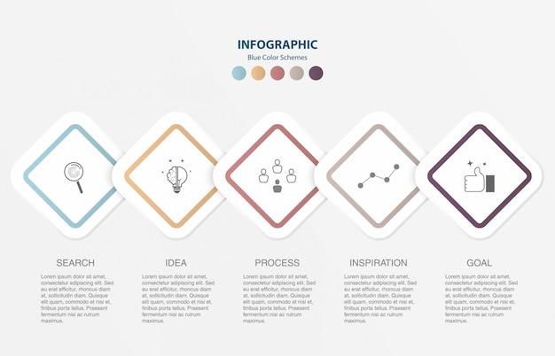 Moderne vierkante infographics voor de sjabloon van de presentatiedia.