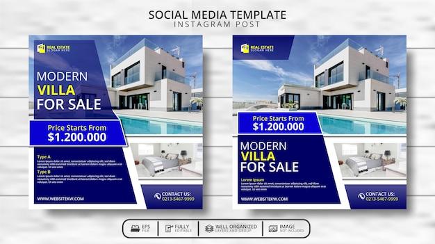 Moderne villa en onroerend goed social media post-sjabloonpromotie