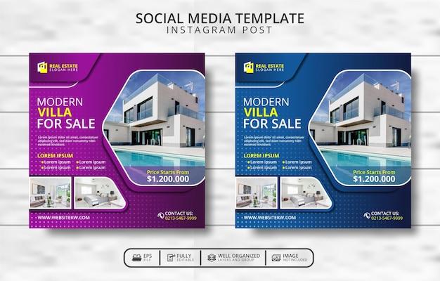 Moderne villa te koop en onroerend goed social media post-sjabloonpromotie