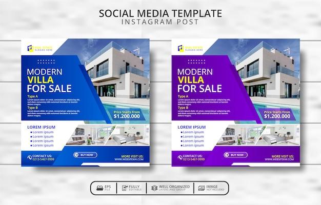 Moderne villa te koop social media post template promotie