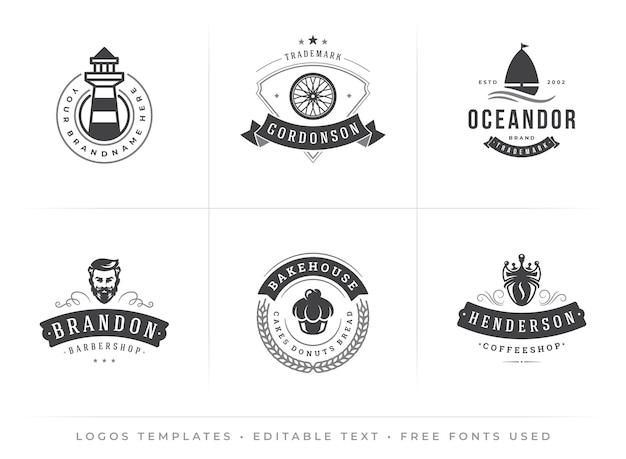 Moderne vintage logo-sjablonen met bewerkbare lettertypen in retro hipster typografisch ontwerp