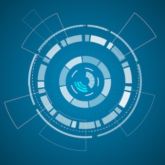 Moderne virtuele technologie-poster met verschillende technologische elementen en vormen op het blauwe papier