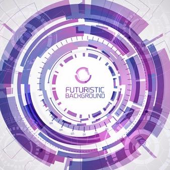 Moderne virtuele technologieachtergrond met paarse ronde vormen geschetste vormen met overlay in verschillende kleuren