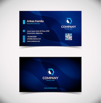 Moderne visitekaartje ontwerpsjabloon met blauwe golf