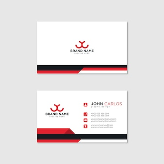 Moderne visitekaartje sjabloon rode zwarte kleuren. platte ontwerp vector abstract creatief - vector