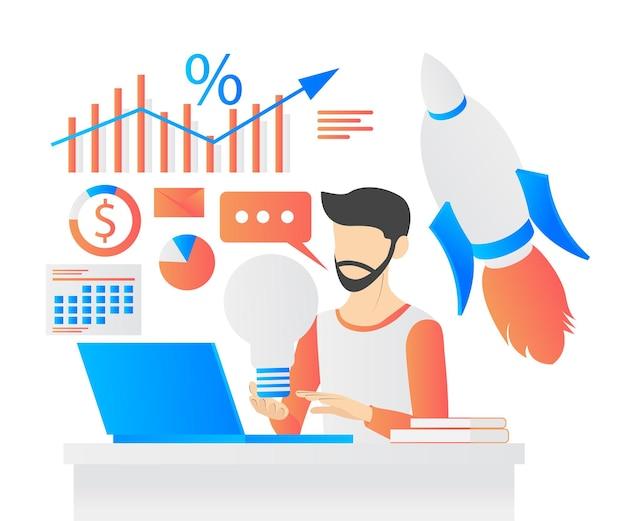 Moderne vlakke stijl vectorillustratie over het opstarten van een bedrijf met karakters