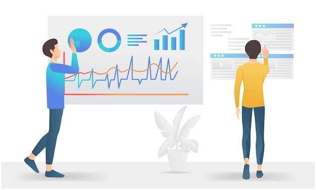 Moderne vlakke stijlillustratie over bedrijfsgegevensanalyse met karakters