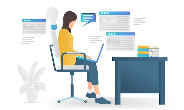 Moderne vlakke stijlillustratie over de maker van de website-inhoud die met zijn laptop werkt