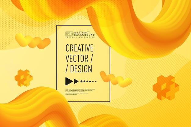 Moderne vloeibare abstracte 3d achtergrond, gouden geel