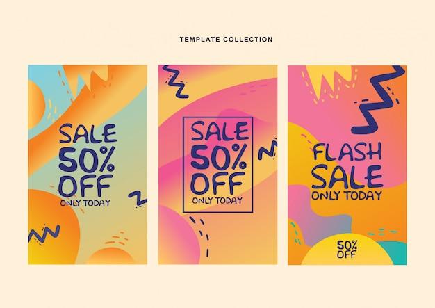 Moderne vloeiende achtergrond sjabloon instellen met kleurovergang voor promotionele sociale media post