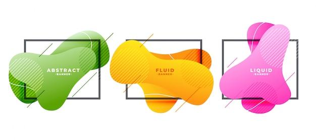Moderne vloeiende vorm frames banner in drie kleuren