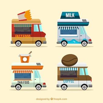 Moderne voedselwagens met leuke stijl
