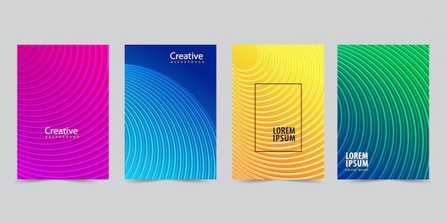 Moderne voorbladsjabloon ingesteld met abstracte lijnen