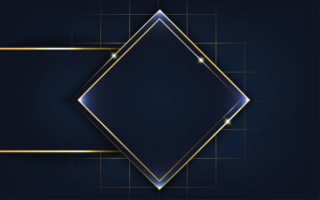 Moderne vorm met gouden lijnachtergrond
