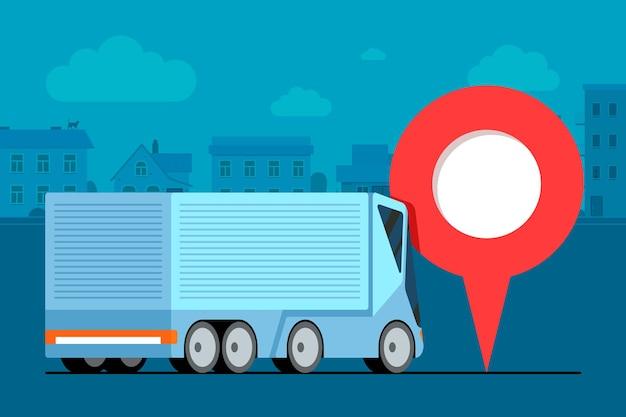 Moderne vrachtwagenaanhangwagen logistiek in de buurt van geotag gps-navigator locatiespeldpictogram op stadsweg