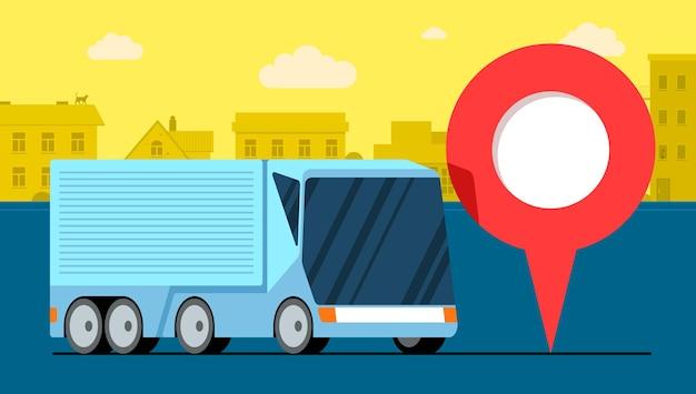 Moderne vrachtwagenaanhangwagen logistiek in de buurt van geotag gps-navigator locatiespeldpictogram op stedelijke stadsweg