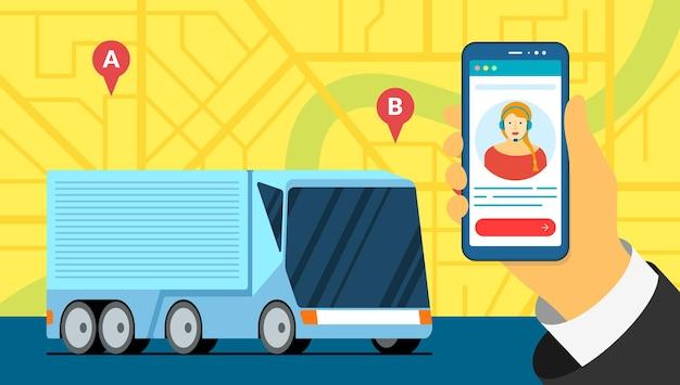Moderne vrachtwagenaanhangwagen logistiek op stadskaart met geotag navigator locatie pinnen transport