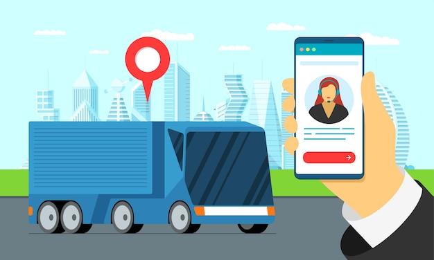 Moderne vrachtwagenaanhangwagen logistiek op straat met geotag locatie pin transport tracking