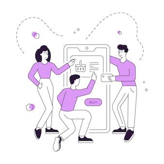 Moderne vrienden die goederen uit mand in online winkel kopen