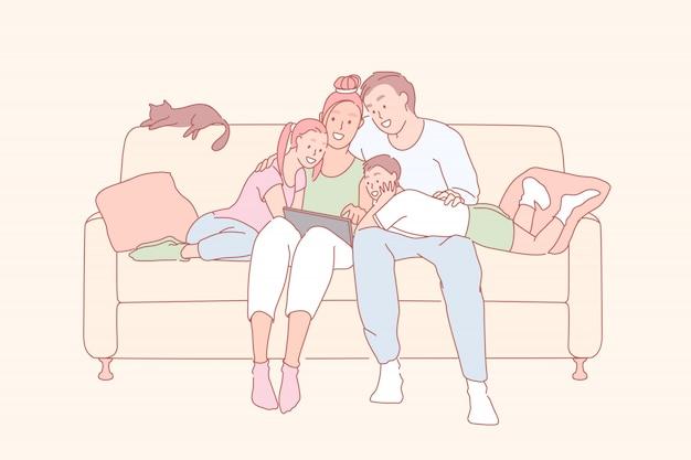 Moderne vrije tijd, familierelatie, familie bonding concept