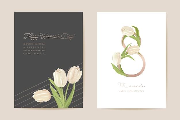 Moderne vrouw dag 8 maart kerstkaart. lente bloemen vectorillustratie. groet realistische tulp bloemen sjabloon, luxe bloem achtergrond, internationale vrouwen dag concept flyer, party design