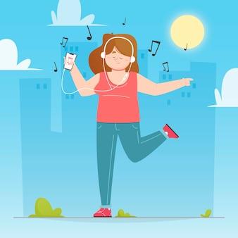 Moderne vrouw die aan muziek op hoofdtelefoons in openlucht luistert