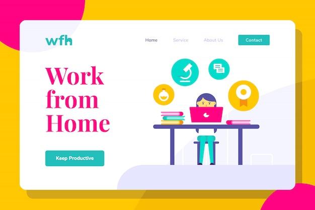 Moderne vrouw werkt vanuit de thuislandingspagina, webbanners, geschikt voor diagrammen, infographics, boekillustraties, spelactiva en andere grafische middelen