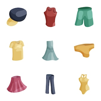Moderne vrouwelijke kleding iconen set, cartoon stijl