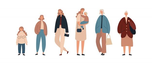 Moderne vrouwen van verschillende leeftijden. platte vectorillustratie